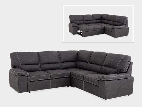 Primo International Bellini Charcoal Pull-out Sectional Sofa