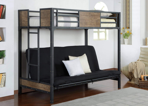 Primo International Bunk Bed Brown Byron Contemporary Twin over Futon Bunk Bed