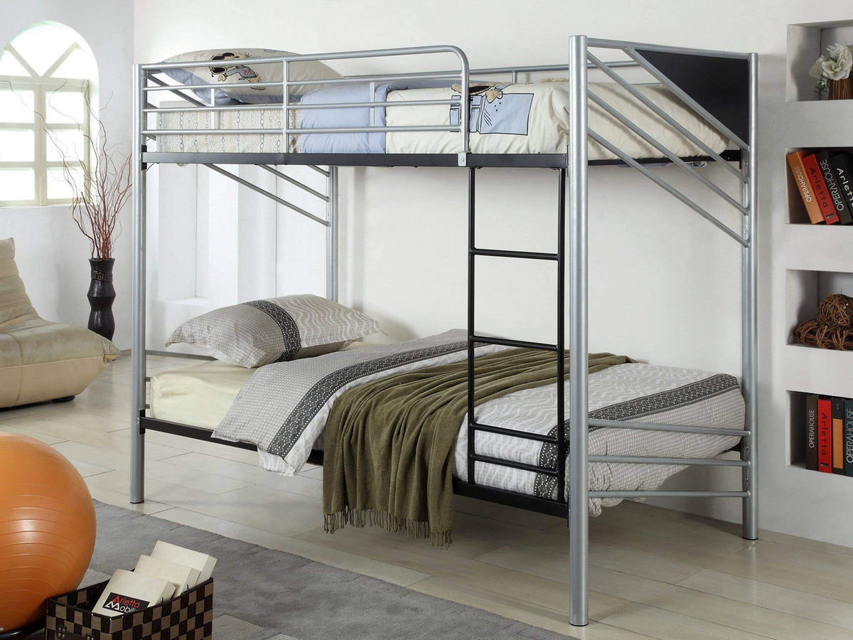 Picture of: Brody Contemporary Twin Over Twin Metal Bunk Bed Wholesale Furniture Brokers Canada