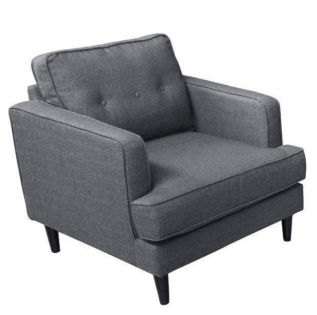 Primo International Chair Cement Aurora Contemporary Chair in Grey Tweed Fabric