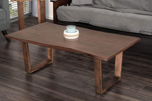 Primo International Coffee Table Acacia Live Edge Solid Wood Coffee Table with Bronze Metal Legs