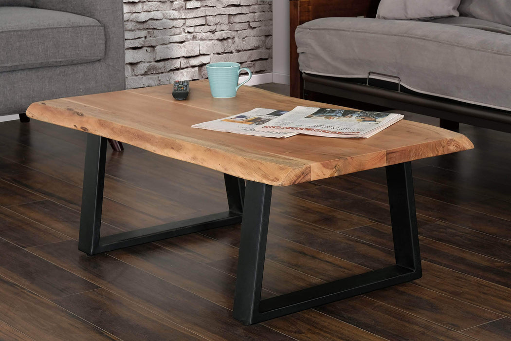 Primo International Coffee Table Rustic Solid Acacia Wood Live Edge Top Coffee Table with Metal Legs