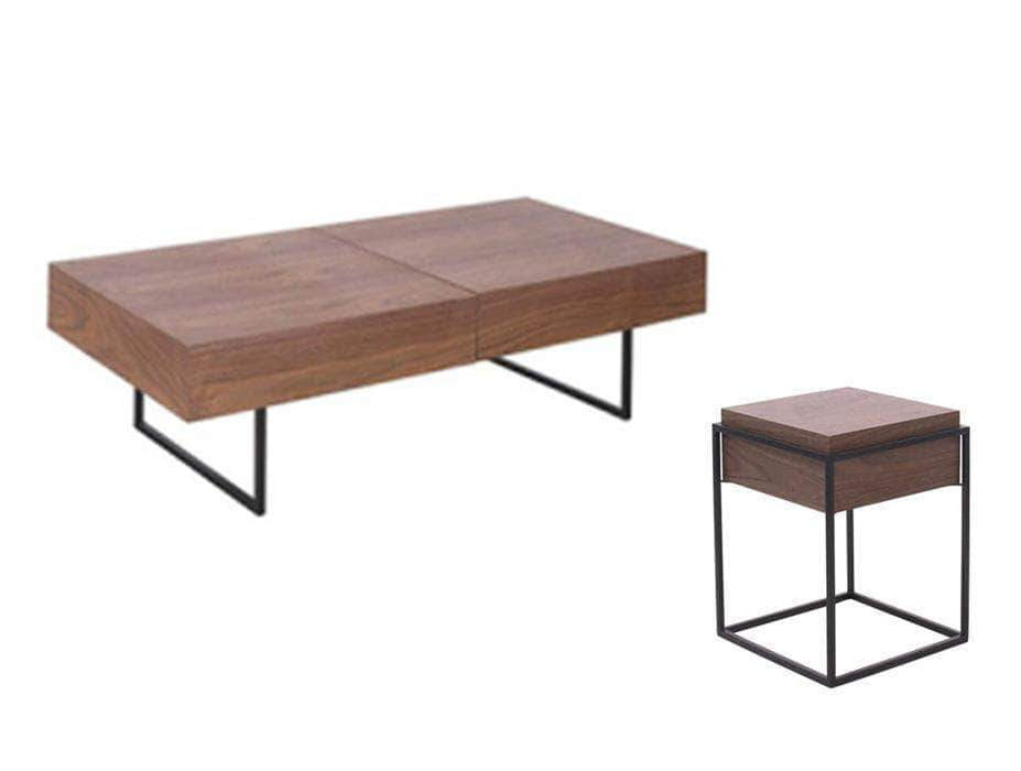 Primo International Coffee Tables & Sets 3 Piece Contemporary Coffee Table and End Tables Set in Teak