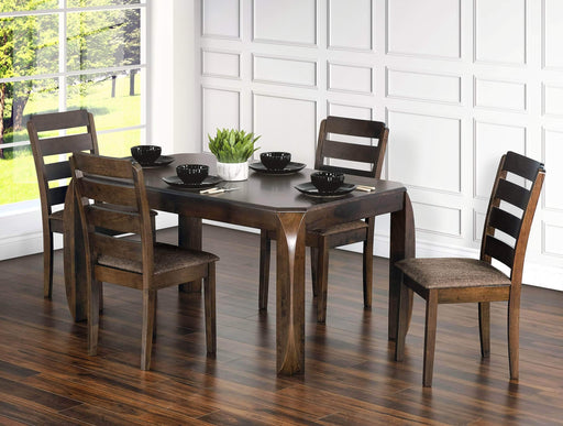 5 Piece Contemporary Dining Set in Brown Oak