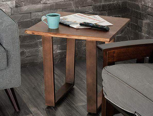 Primo International End Table Rustic Solid Live Edge Acacia Wood Top End Table with Bronze Metal Legs