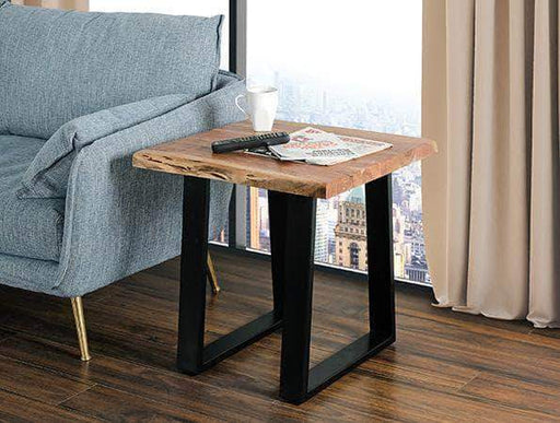 Primo International End Table Rustic Solid Live Edge Acacia Wood Top End Table with Metal Legs