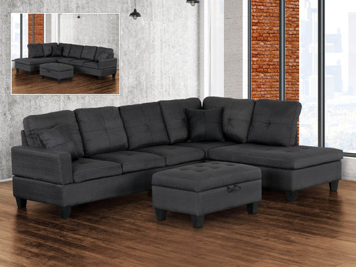 Primo International Fabric Sectional Jackey Tufted Sectional Sofa with Left or Right Chaise