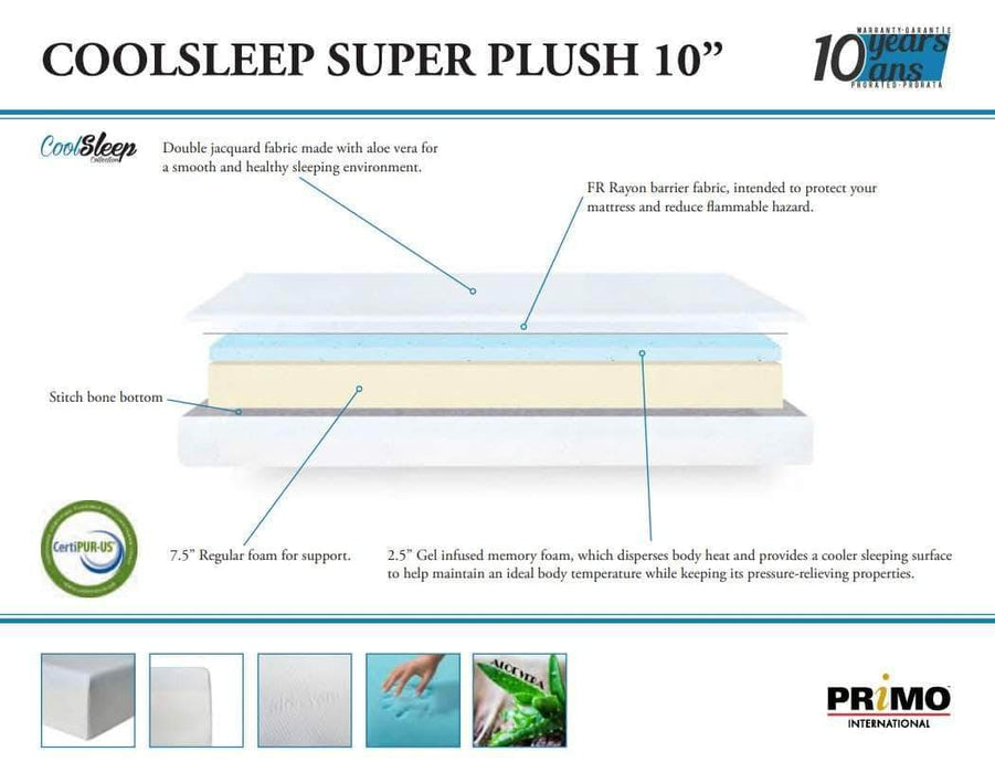 Primo International Mattress 10 Inch Cool Sleep Super Plush Gel Memory Foam Mattress
