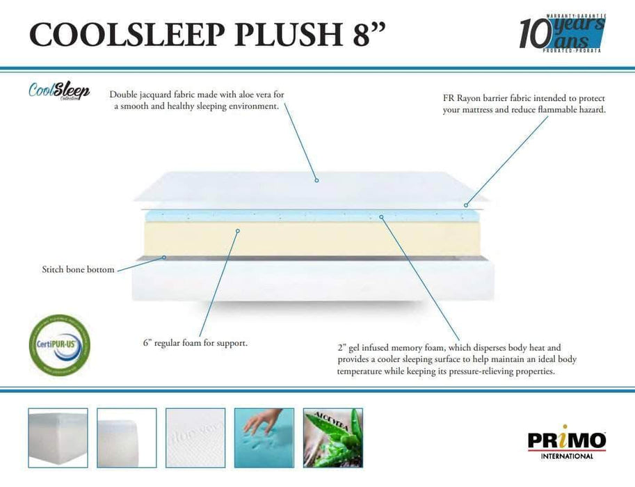 "Primo International Mattress 8"" Cool Sleep Comfort Plush Gel Infused Memory Foam Mattress"