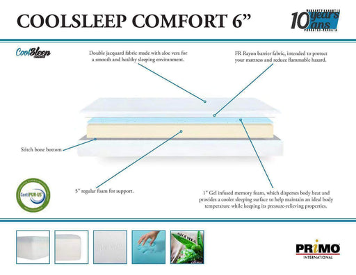 "Primo International Mattress Cool Sleep Comfort 6"" Gel Foam Mattress"