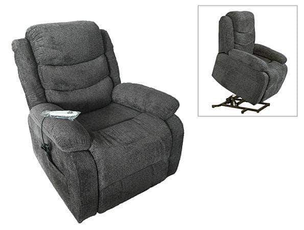 Primo International Recliner Rainer Power Lift and Rise Recliner Chair in Myst Charcoal