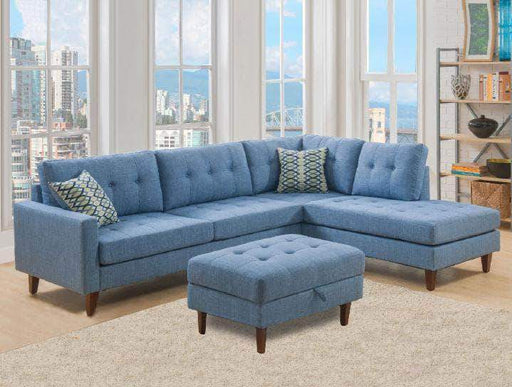 Primo International Sectional Cornell Contemporary Sectional in Light Blue