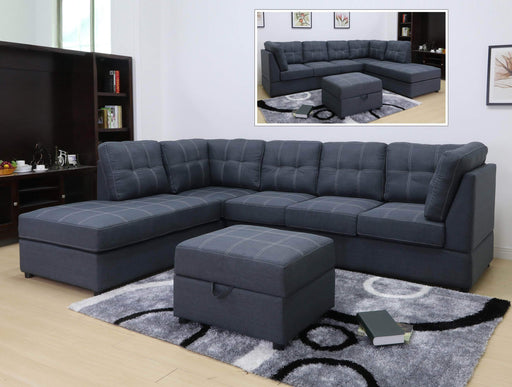 Primo International Sectional Left Facing Chaise Kenzie Sectional in Slate Weave Fabric with Storage Ottoman