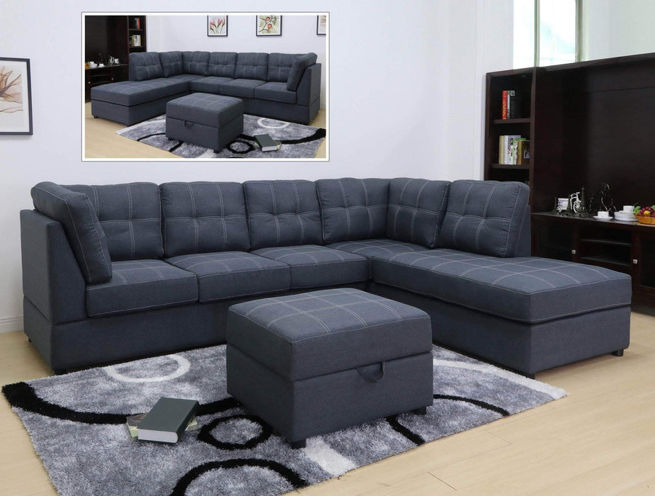 Primo International Sectional Right Facing Chaise Kenzie Sectional in Slate Weave Fabric with Storage Ottoman