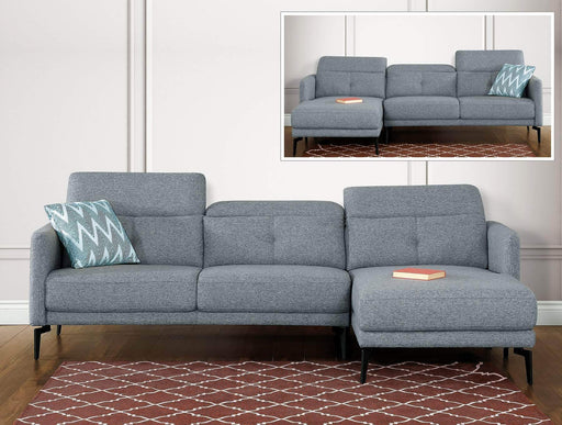Primo International Sectional Sofa Left Facing Chaise Minna Sectional Sofa in Grey Fabric with Storage Ottoman