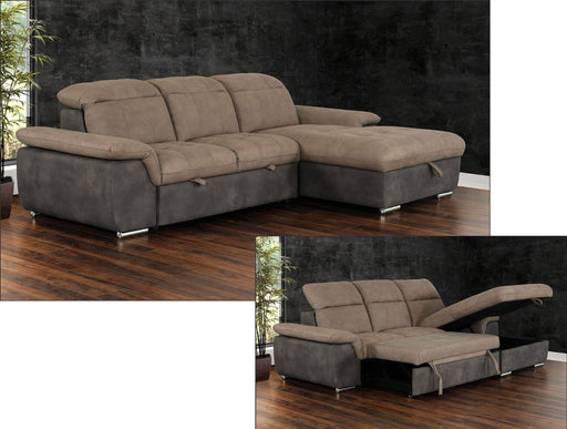 Primo International Sleeper Sectional Right Facing Chaise Savina Sleeper Sectional with Storage Chaise