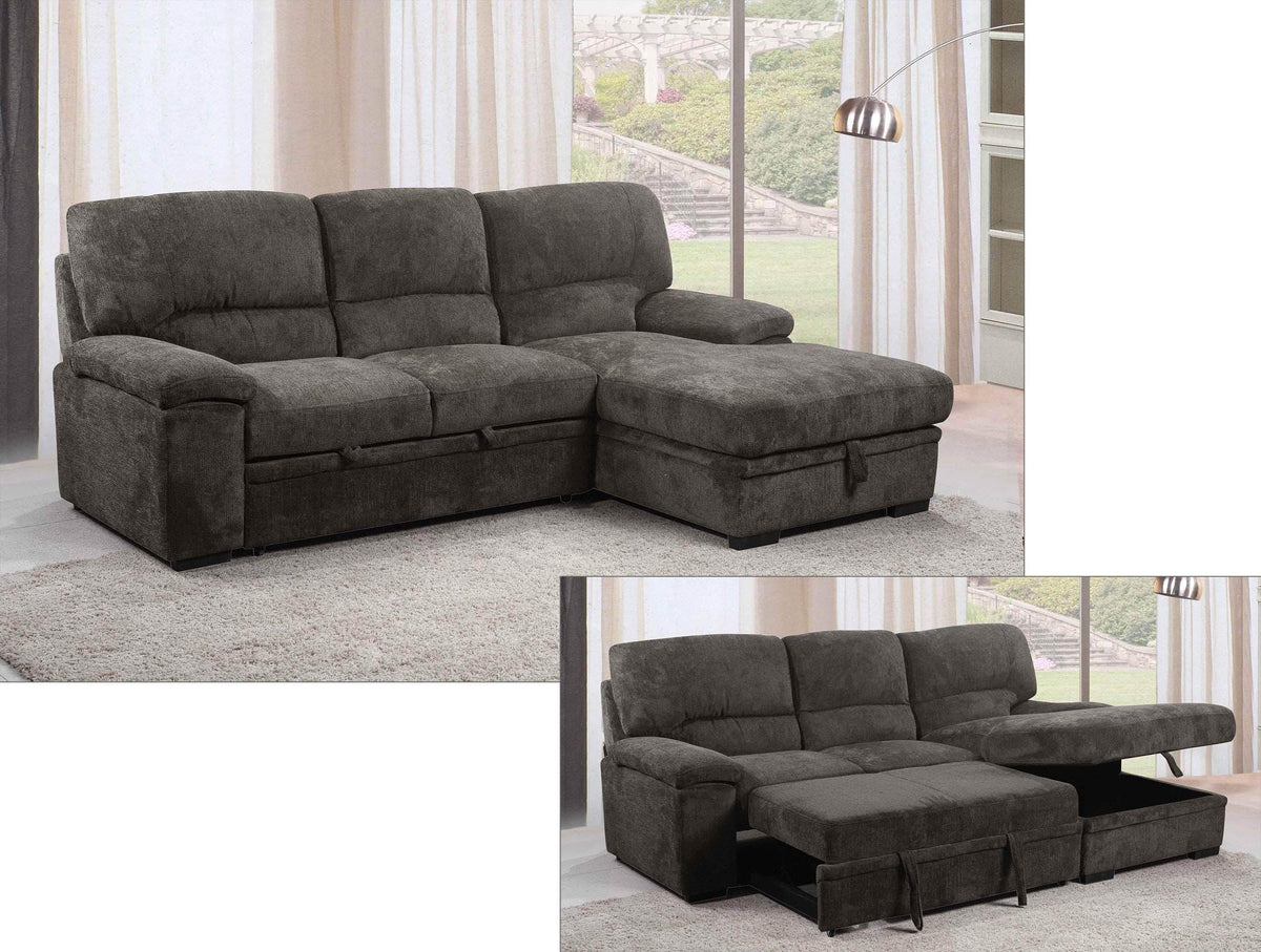 Tessaro Sleeper Sectional with Storage Chaise in Charcoal