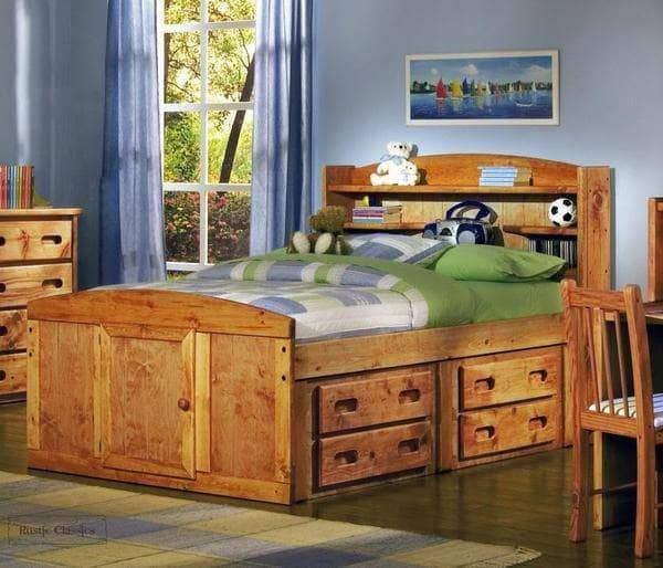 Rustic Classics Bed One Side Pine Double Captains Bed in Amber Wash with Under Bed Storage Drawers