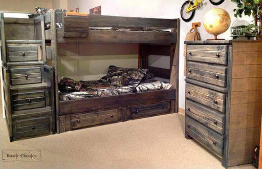 Rustic Classics Bunk Bed Pine Full over Full Bunk Bed in Rustic Grey
