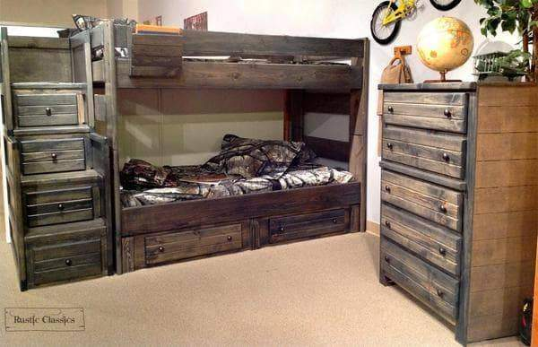 Rustic Classics Bunk Bed Pine Twin over Twin Bunk Bed in Rustic Grey