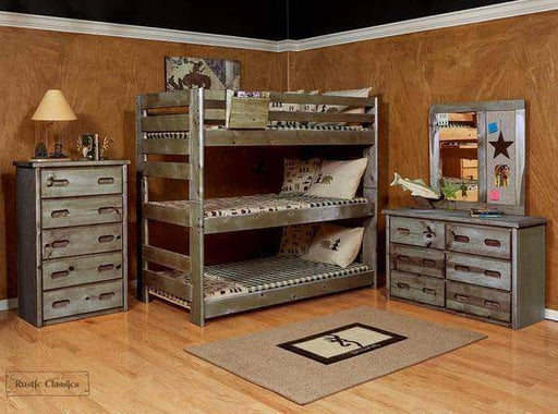 Rustic Classics Bunk Bed Pine Twin over Twin over Twin Triple Bunk Bed in Rustic Grey