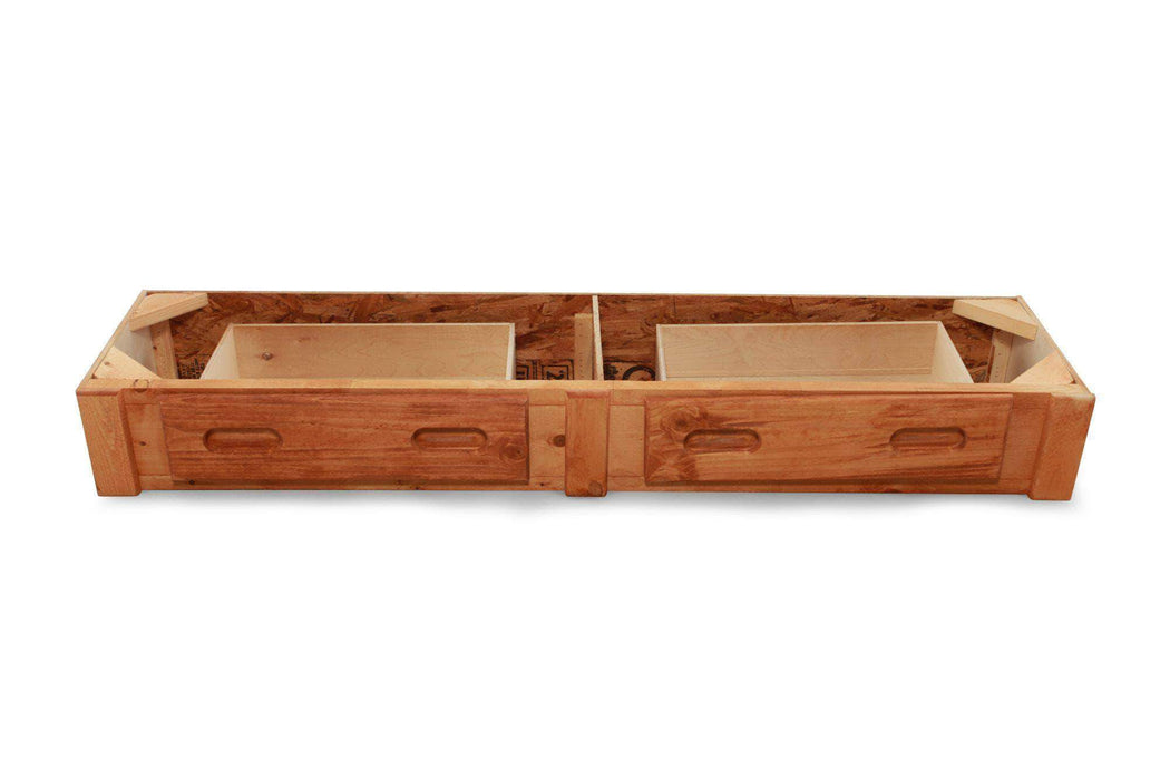 Rustic Classics Underbed Storage Drawers Pine Underbed Storage with 2 Drawers in Amber Wash