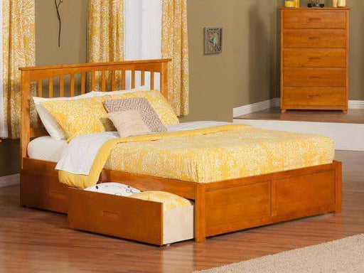 True Contemporary Bed Full Fraser Oak Mission Platform Bed Frame