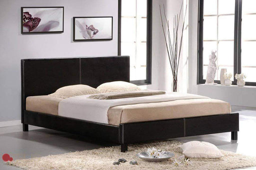 True Contemporary Bed Full Mirabel Espresso Faux Leather Platform Bed