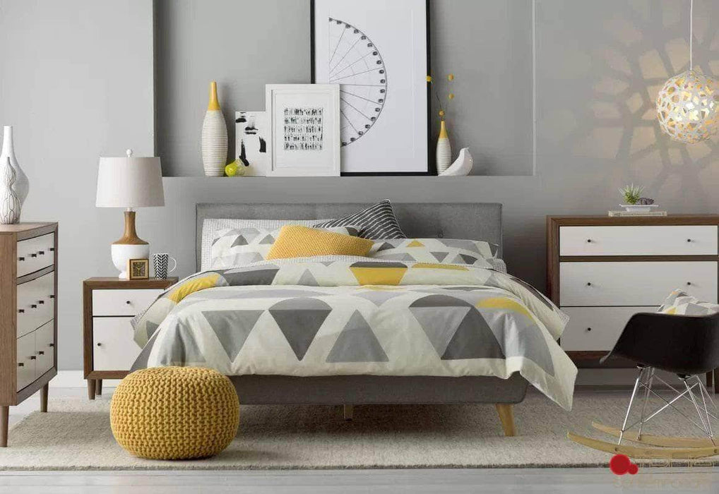 True Contemporary Bed King Grey Drew Tufted Linen Platform Bed