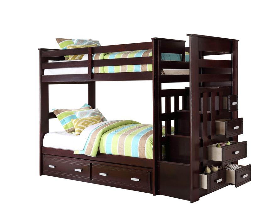 Allentown Espresso Twin Over Twin Bunk Bed With Staircase Wholesale Furniture Brokers Canada