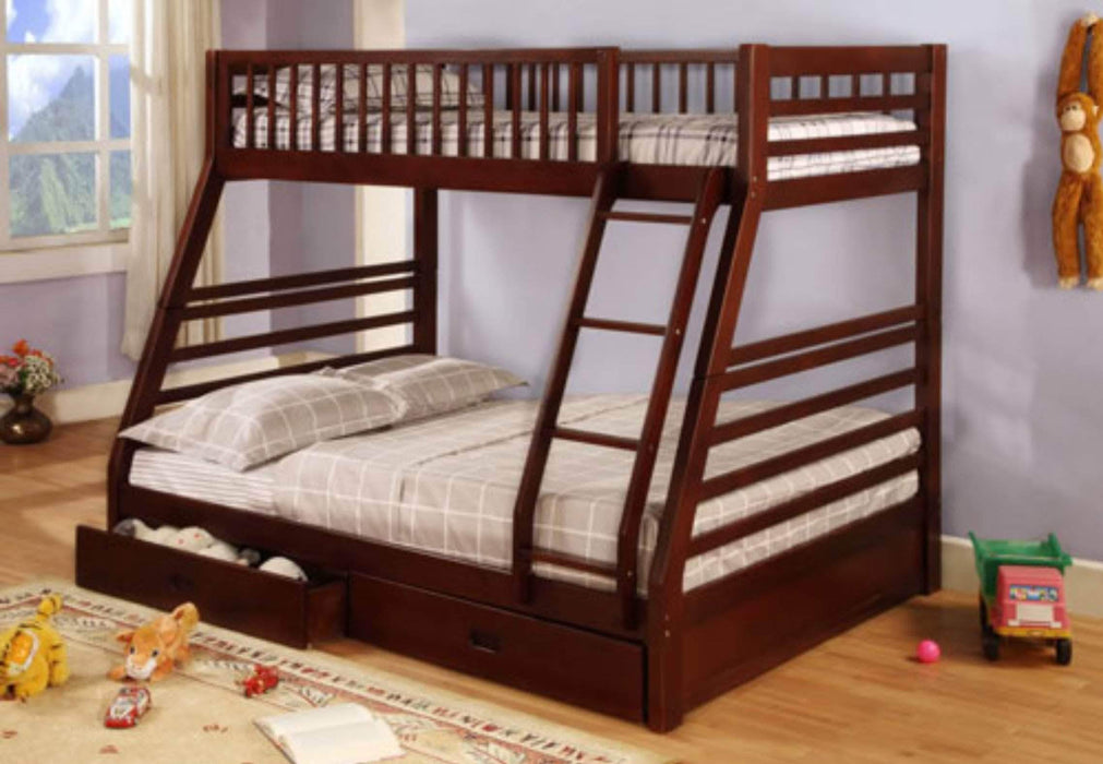 True Contemporary Bunk Bed Cherry Alaska Twin over Full Bunk Bed with Storage Drawers