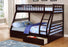 True Contemporary Bunk Bed Espresso Alaska Twin over Full Bunk Bed with Storage Drawers