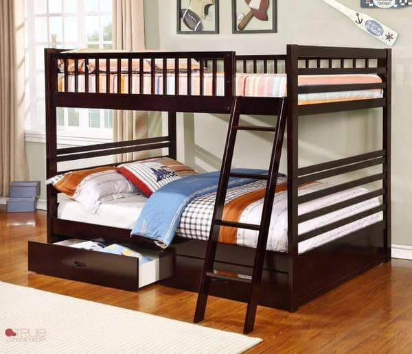 True Contemporary Bunk Bed Fraser Espresso Full over Full Bunk Bed with Storage Drawers and Solid Wood