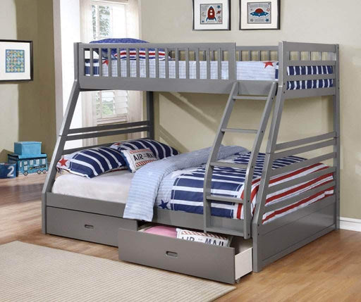 True Contemporary Bunk Bed Grey Alaska Twin over Full Bunk Bed with Storage Drawers