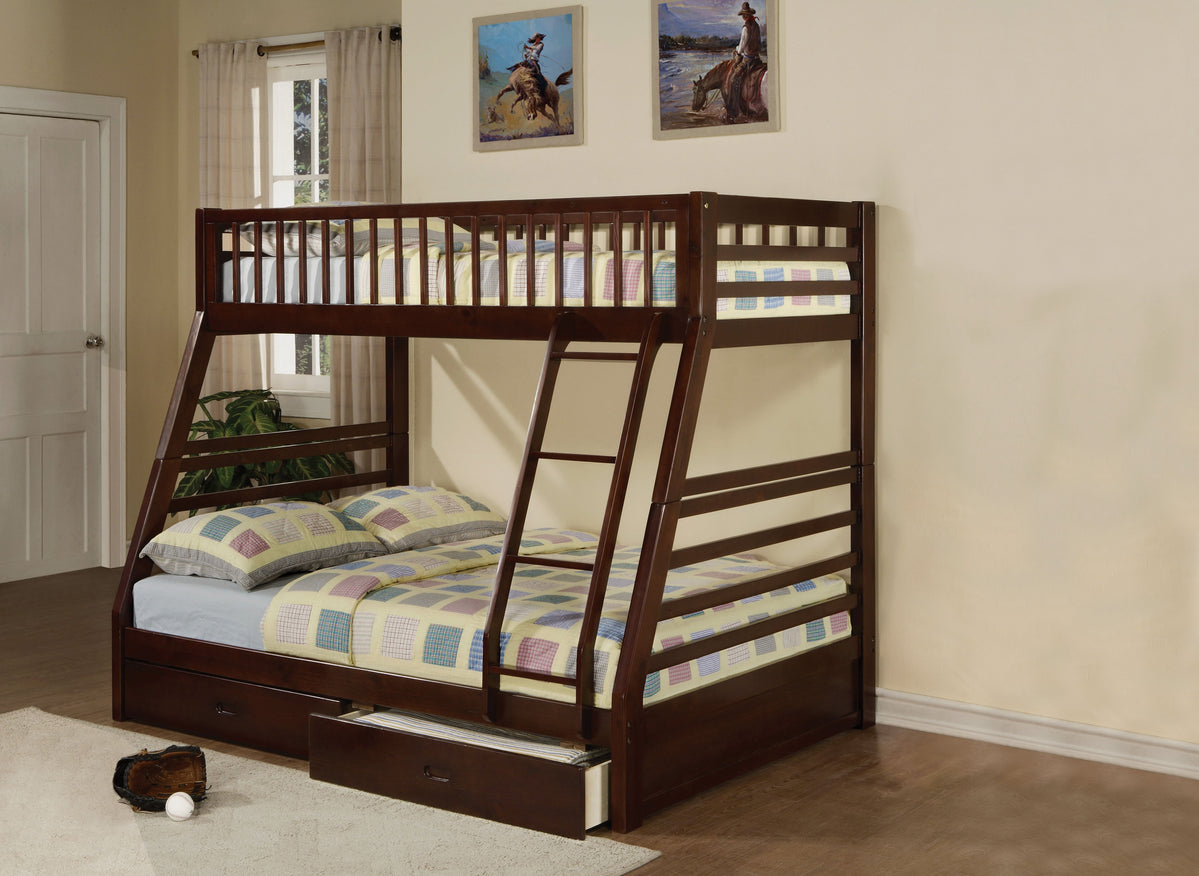 Jason Espresso Twin Over Full Bunk Bed With Storage Drawers Wholesale Furniture Brokers Canada
