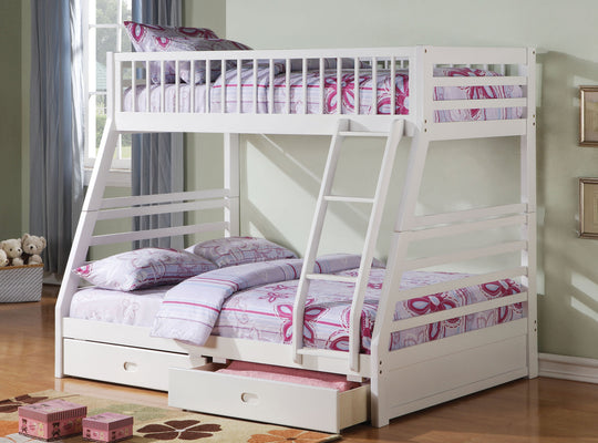 True Contemporary Bunk Bed Jason White Twin Over Full Bunk Bed with Storage Drawers