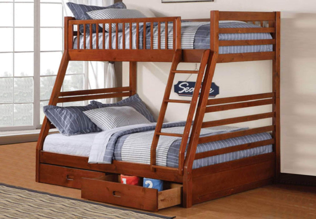True Contemporary Bunk Bed Oak Alaska Twin over Full Bunk Bed with Storage Drawers