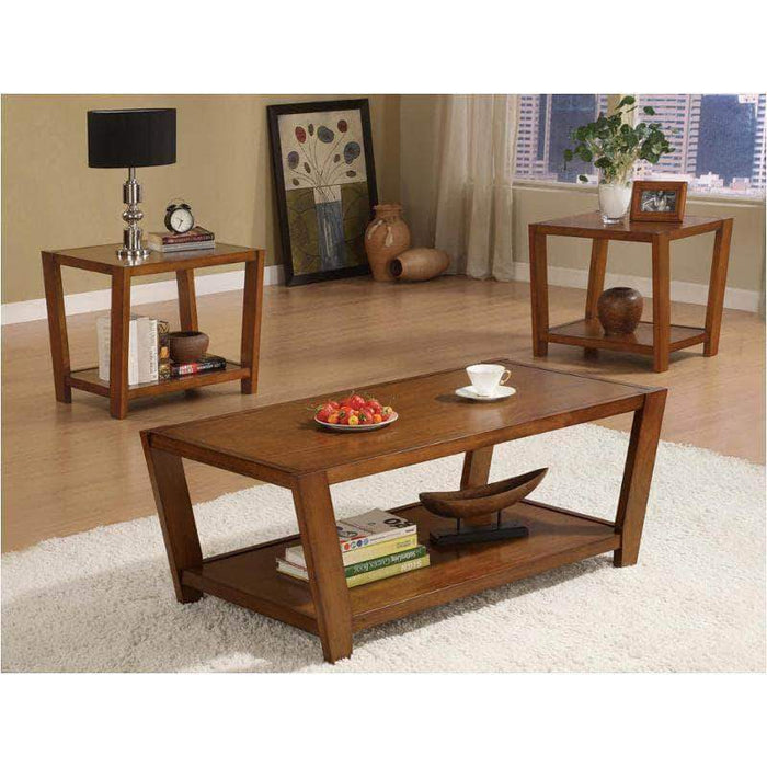 True Contemporary Coffee Tables & Sets Rectangular Wood Coffee Table and End Table Set