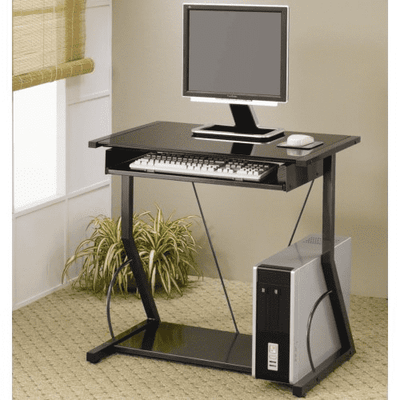 True Contemporary Desk Black Tempered Glass Computer Desk
