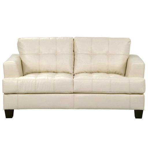 True Contemporary Loveseat Cream Toronto Tufted Bonded Leather Loveseat - 3 Colours