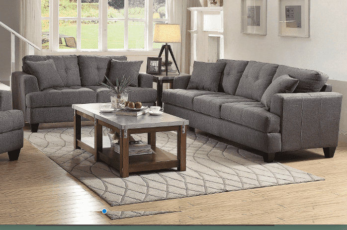 True Contemporary Loveseat Toronto Grey Tufted Linen Loveseat