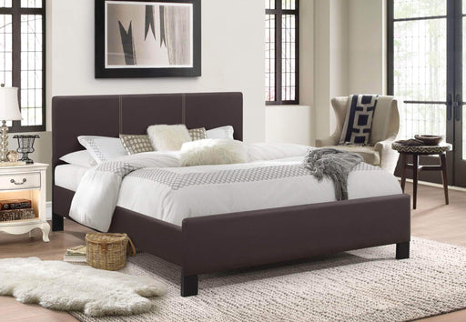 True Contemporary Platform Beds Espresso / Twin Xander Fabric Platform Bed With Contrast Stitching