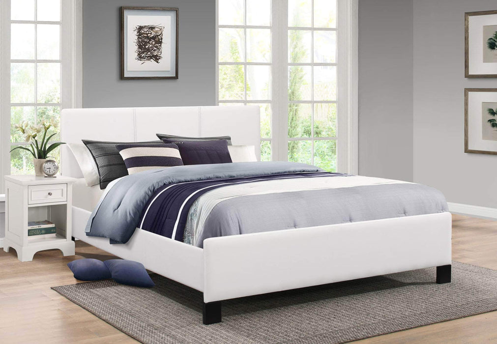 True Contemporary Platform Beds White / Twin Xander Fabric Platform Bed With Contrast Stitching