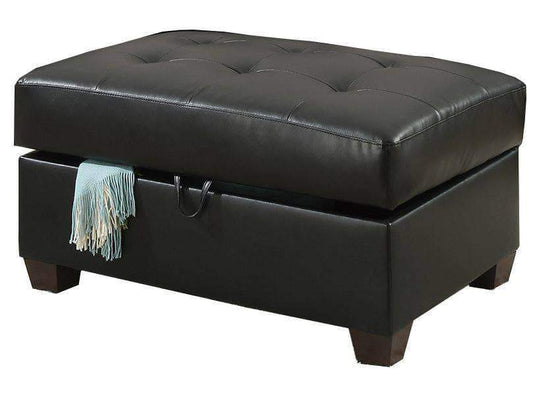 Urban Cali Ottoman Black Sacramento Bonded Leather Storage Ottoman Available in 3 Colours