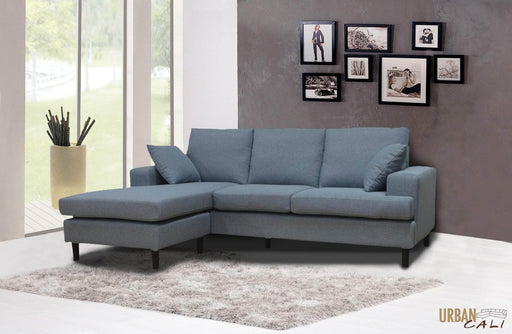 "Urban Cali Sectional Sofa Sophia 84"" Sectional Sofa with Reversible Chaise in Grey Linen"
