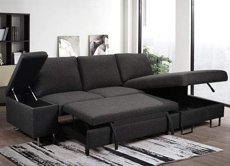 Celso Sleeper Sectional Sofa Bed with Loveseat and Storage Chaise