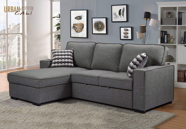 Urban Cali Sleeper Sectional Left Facing Chaise Bellissa Sleeper Sectional Sofa Bed with Storage in Knit Charcoal