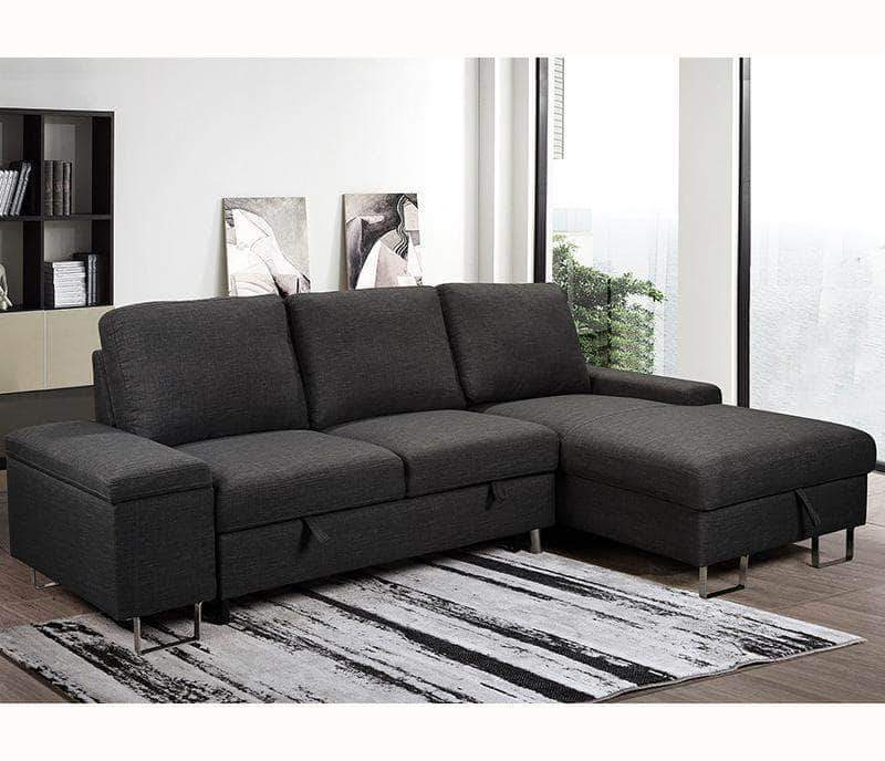 Urban Cali Sleeper Sectional Right Facing Chaise Celso Sleeper Sectional Sofa Bed with Loveseat and Storage Chaise