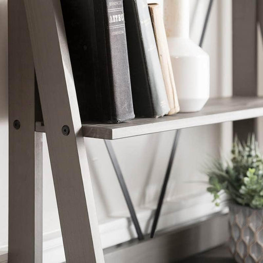 "Walker Edison Bookcase Grey 68"" Solid Wood Ladder Bookshelf - Grey"