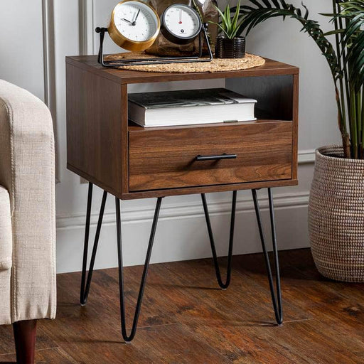 "Walker Edison Side Table Dark Walnut 18"" Modern Single Drawer Hairpin Leg Side Table - Dark Walnut"